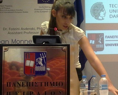Dr. Eleftheria Markozani holding a speech
