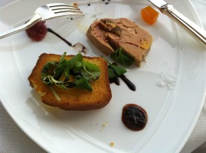 Terrine of duck fois gras with figs and muscato sauce