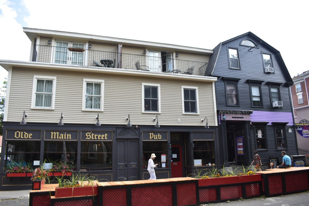 Old architecture converted into pubs and shops
