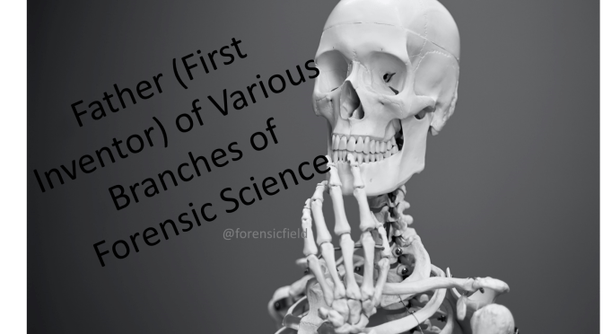 Father's of Various branches of Forensic Science