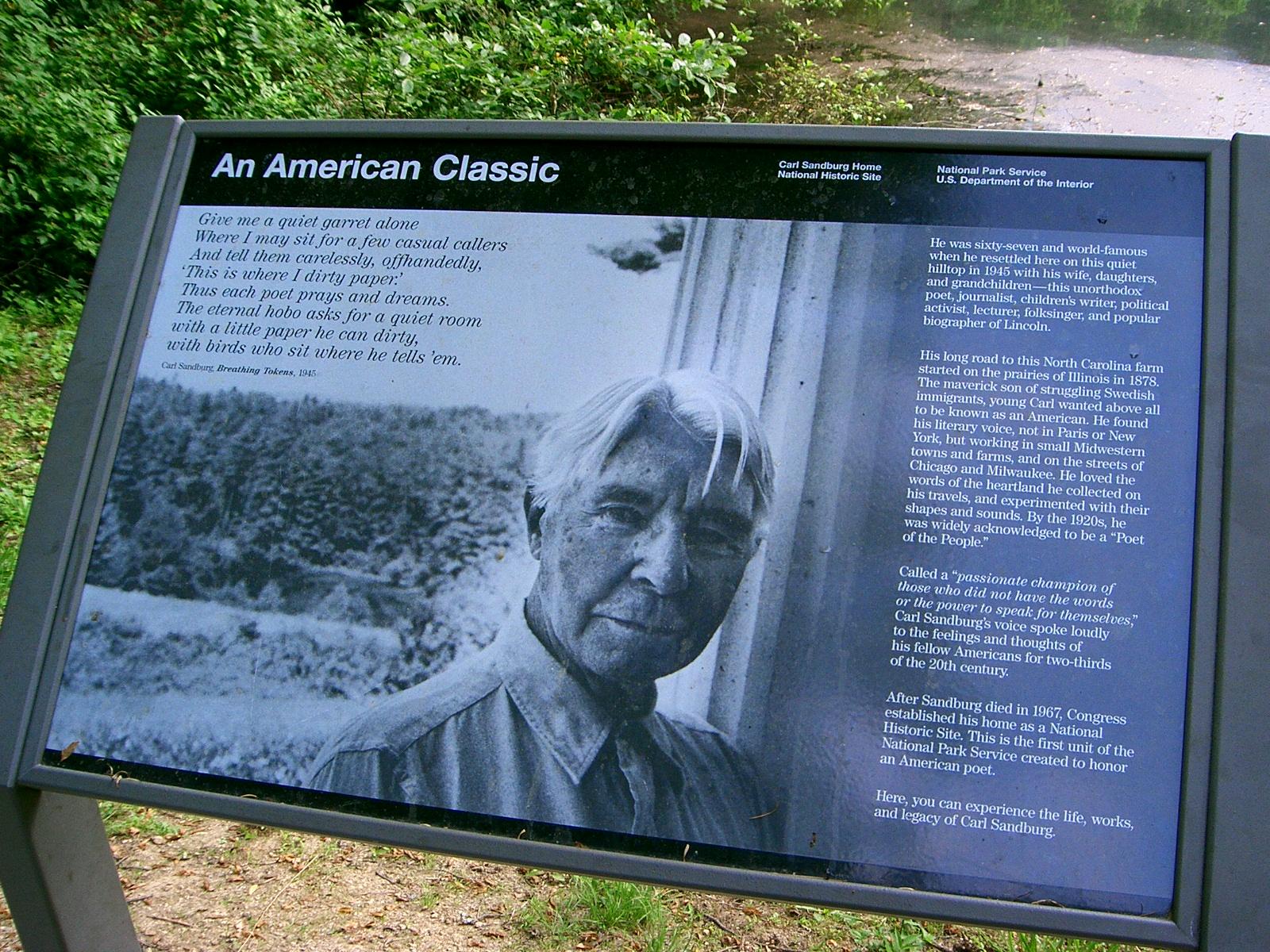 Carl Sandburg, An American Classic Trail Marker