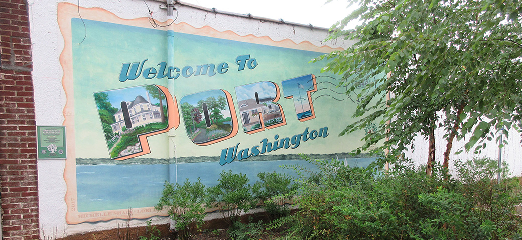 Building Mural Welcoming Visitors to Port Washington, New York