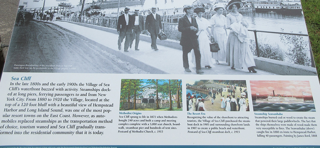 Sea Cliff New York Wayside Sign With Pictures and Text About the Late 1800 and 1900s.