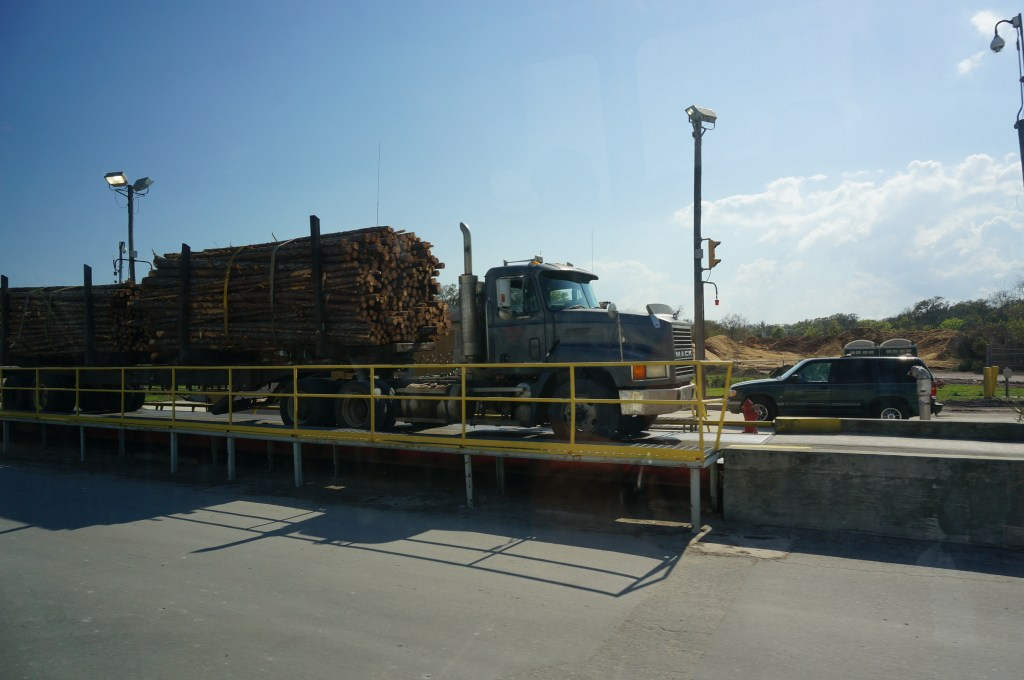 wood supply truck weighing bridge US South