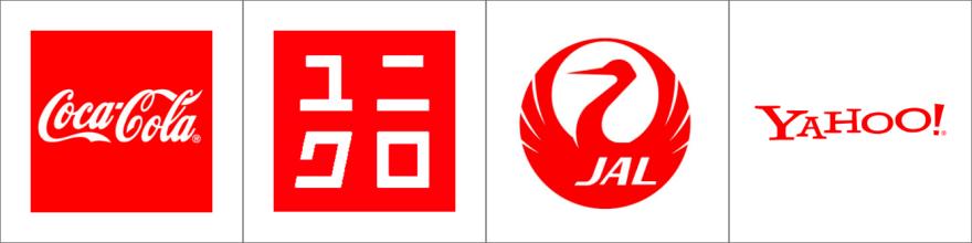 赤色のロゴ例