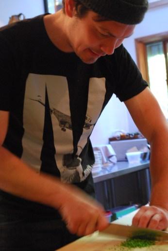 Jesse chopping nodding onion