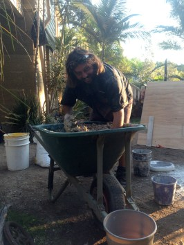 Fix: Mixing small hemp-lime batch for filling holes