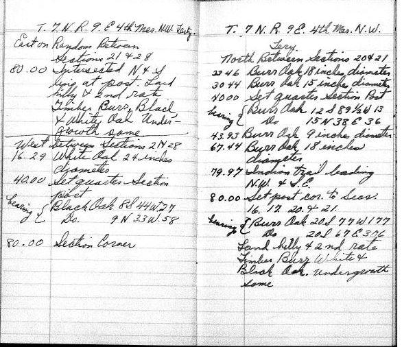 1834 public land survey notes. Source: