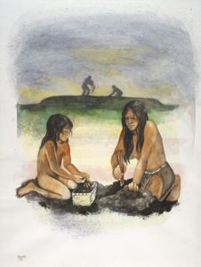 A watercolor of Late Woodland people building an effigy mound. Wisconsin Historical Society Image 33815.