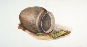 A watercolor of a piece of pottery and a pan pipe created by Late Woodland mound builders of Wisconsin. Wisconsin Historical Society Image 33805. Small personal effects, such as this pipe, have been found in burial mounds, but extravagant offerings were rare.