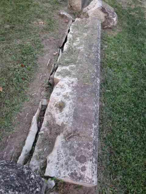 Fuller Family Sandstone Wall Collapsing