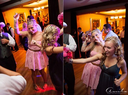 wedding guests partying at forest house lodge