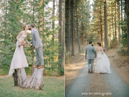 bride and groom forest pictorial