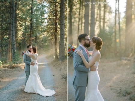 wedding bride and groom kissing in the forest road for pictorial
