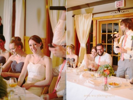 happy bride and groom at wedding reception