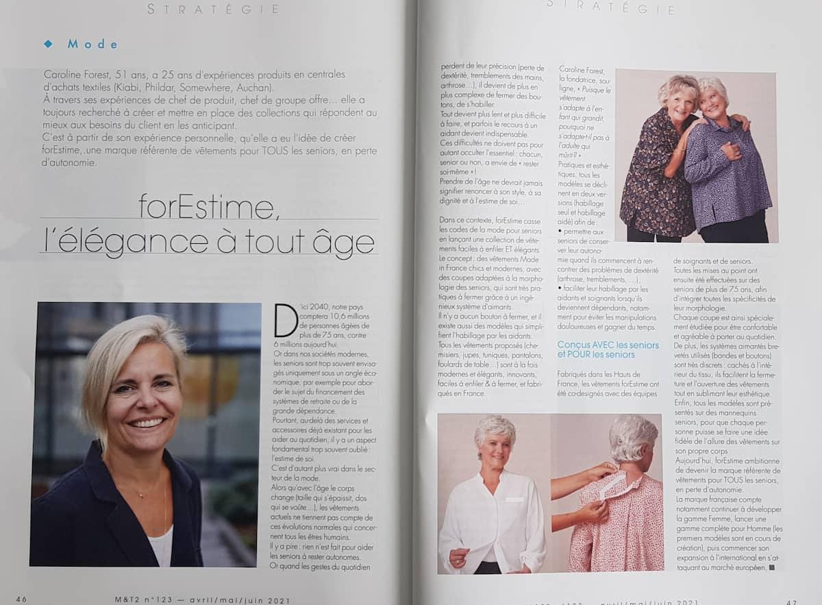 magazine M&T2 article sur forESTIME vetements adaptés pour personnes âgées