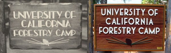 Forestry Field Camp Sign - 1939 and 2013. Courtesy of the Marian Koshland Bioscience and Natural Resources Library, University of California, Berkeley: lib.berkeley.edu/BIOS/