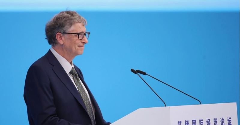 Microsoft founder Bill Gates speaking during the Hongqiao International Economic and Trade Forum in the China International Import Expo at the National Exhibition and Convention Centre on November 5, 2018 in Shanghai, China. Lintao Zhang