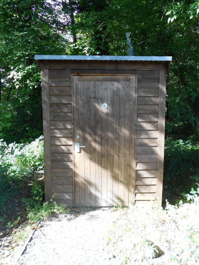 Wooden building that houses a composting toilet.