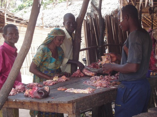 Old Mbororo woman buying meat in the market