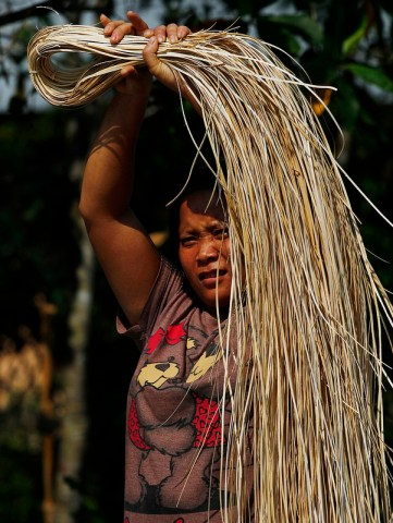 Housewives are re-learning the traditional Dayak tribal craft of rattan weaving. Achmad Ibrahim/CIFOR