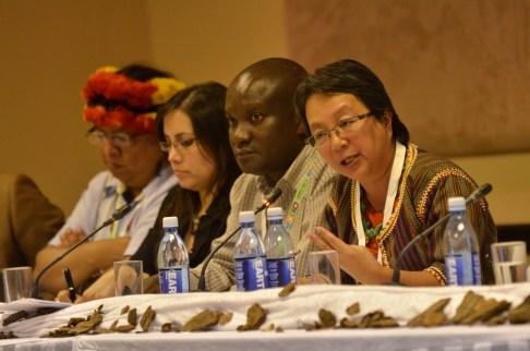 Des dirigeants autochtones discutent sur les forêts durant la Journée des Forest 5 (Forest Day 5). Photo de Neil Palmer/CIAT.