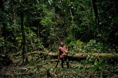 Mujer kichwa toma un descanso antes de continuar cortando árboles en el bosque. Ella y su esposo están limpiando un área para sembrar maíz para alimentar a su ganado, cerca del Río Napo, en la provincia de Orellana, Ecuador. Los Objetivos de Desarrollo Sostenible buscan integrar la gestión forestal, la agricultura y otros sectores en un esquema coherente. Fotografía: Tomas Munita/CIFOR