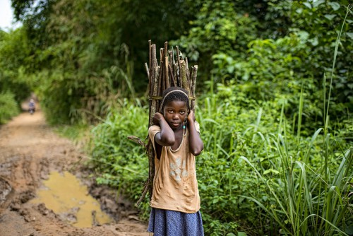 A child carries firewood while we were on the way from Kisangani to the village of Masako. Democratic Republic of Congo.   Photo by Ollivier Girard for Center for International Forestry Research (CIFOR)