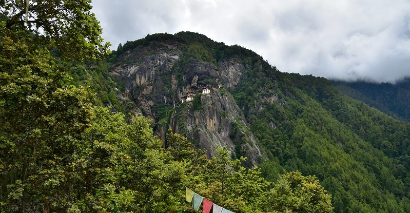 View of a monastery on a forested hillside
