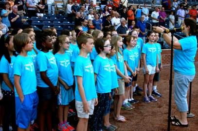 Singing the national anthem