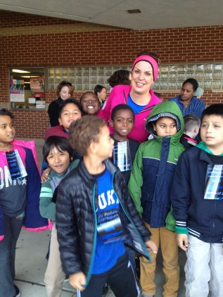 Ms. Mann and students prepare for the run
