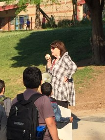 """Ms. Flowers fires up the crowd """"We love public ed!"""""""