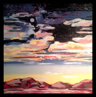 Hidden UFO, 4'x4', Mixed Media on Canvas
