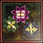 """3 Flowers- 20x20""""- Mixed Media Painting on Canvas"""