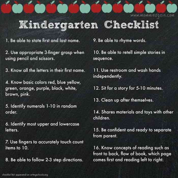 Prepare Your Child for Kindergarten - A Checklist You Can Use!!
