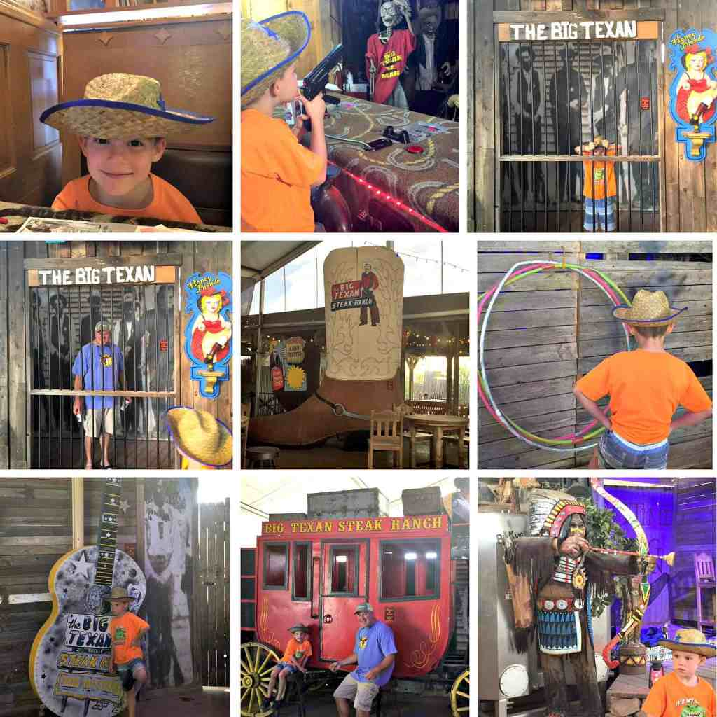 a collage of fun things my family did at The Texas Steak Ranch in Amarillo Texas