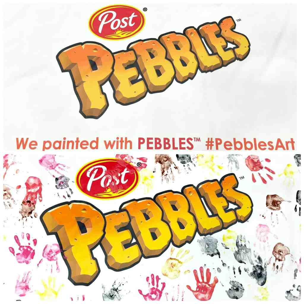 Post Pebbles sign and kids handprints