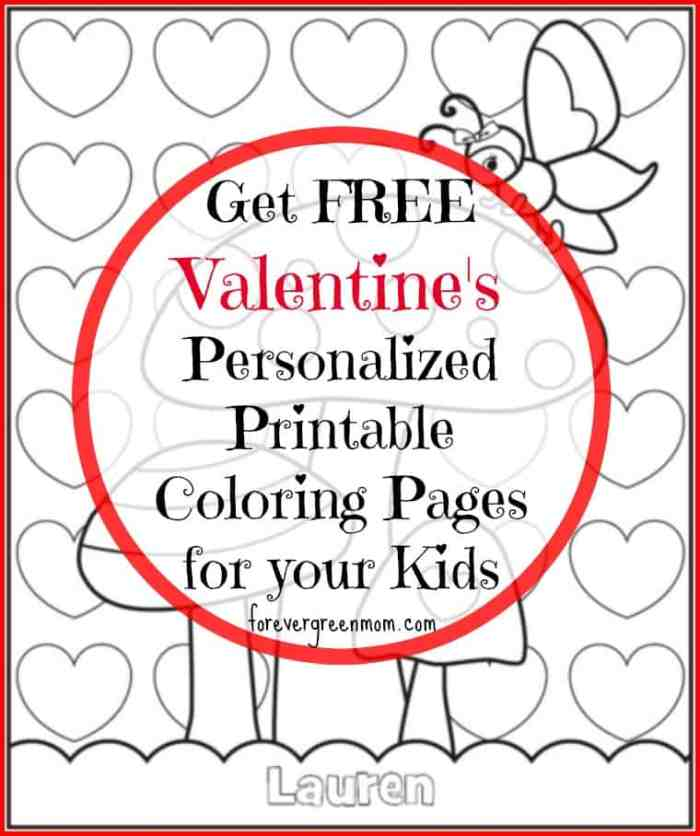 Free Personalized Printable Coloring Pages for Valentine's