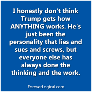 I honestly don't think Trump gets how ANYTHING works. He's jut been the personality that lies and sues and screws, but everyone else has always done the thinking and the work.