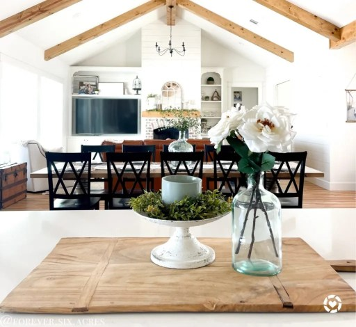Farmhouse interior with vaulted ceilings and wood beams