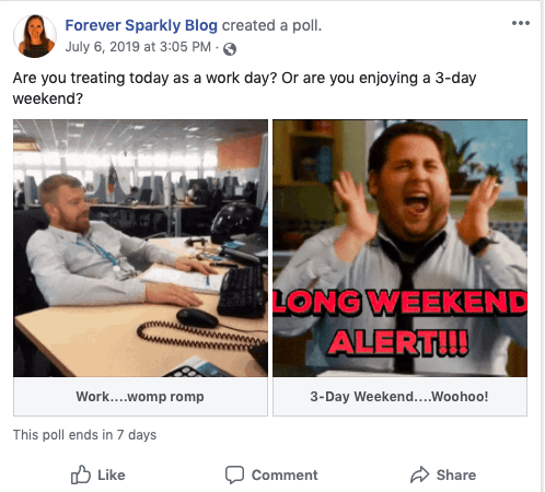 Facebook Business Page GIF Poll