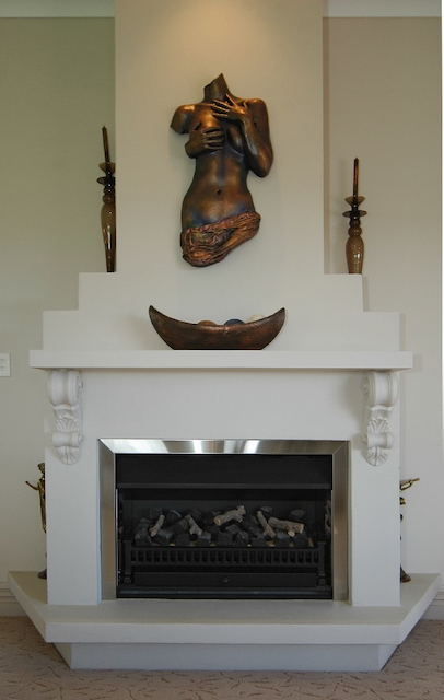 goddess sculptures in lounge room