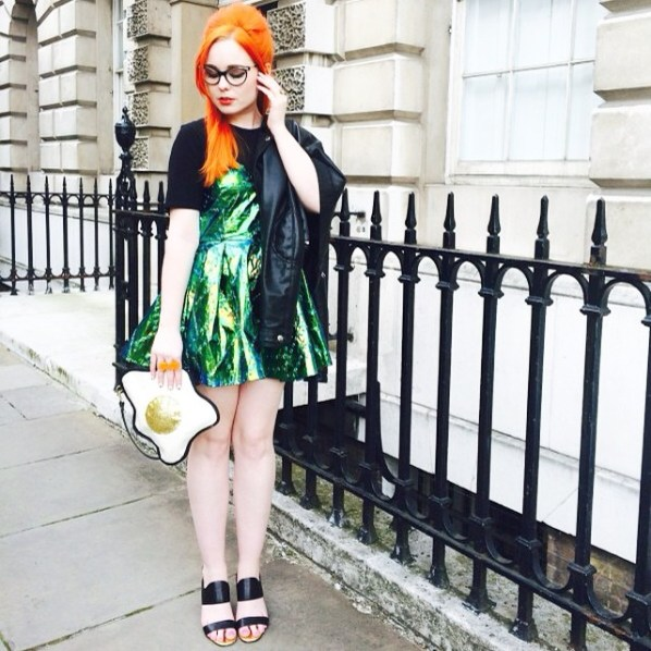 Wearing the green holigraphic Chrysalis dress to LFW