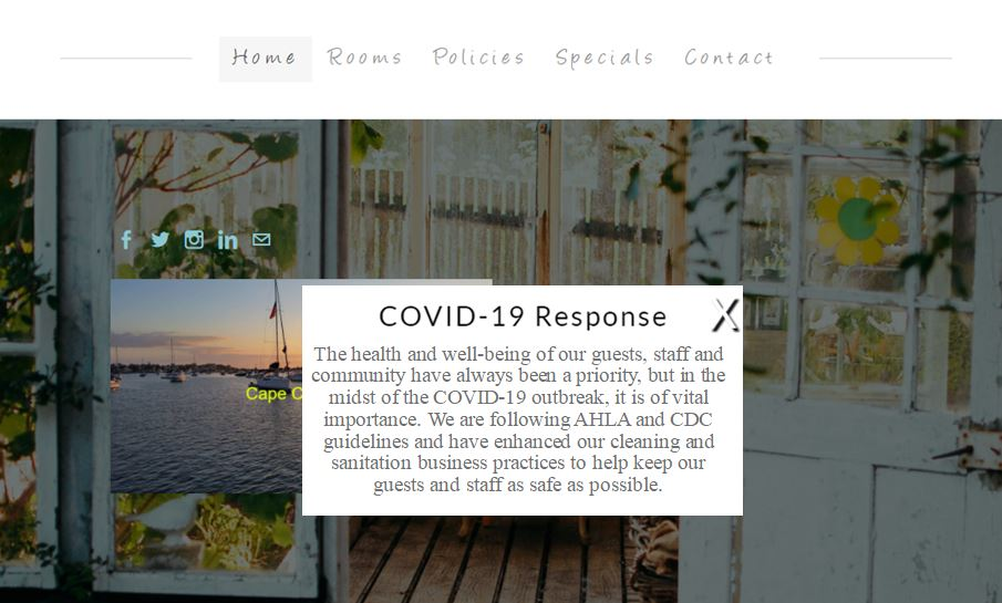 Covid Pop-up box example