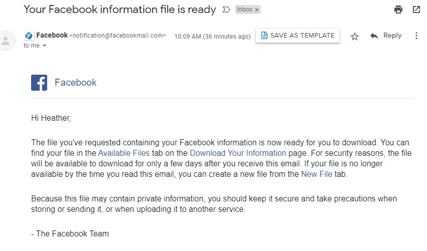 Email Screenshot of downloading and backing up information for Facebook