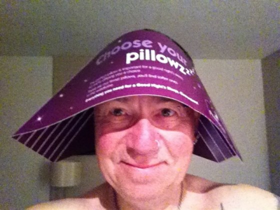 Mick Peters Fairport Convention Tour Manager in pillow-holder hat