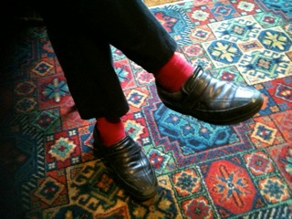 Red socks and fetching carpet