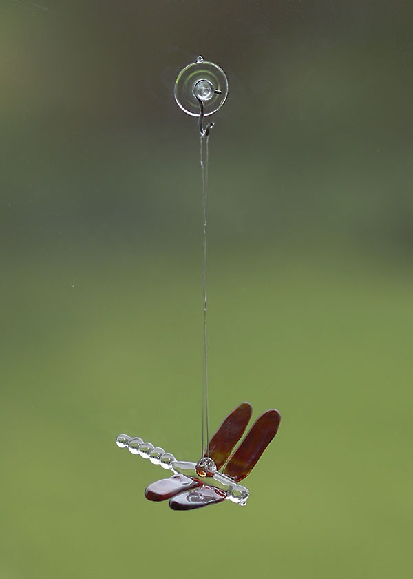 handmade glass dragonfly-suction cup