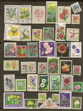 https://www.etsy.com/listing/473667862/flowers-on-vintage-used-postage-stamps?