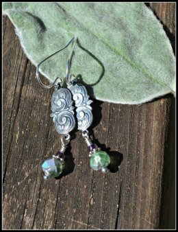 https://www.etsy.com/ca/listing/162090262/green-glass-earrings-with-silver-floral?